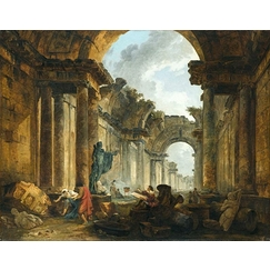 Imaginary view of the great gallery of the Louvre in ruins
