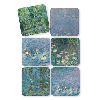 Set of 6 Water Lilies Cork coasters