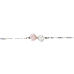 "Bracelet ""double rose - rose/blanche"""