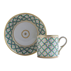 Green quadrille Tea cup and saucer