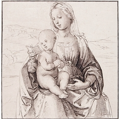 Virgin and child, sitting, reading in a landscape - Raphael