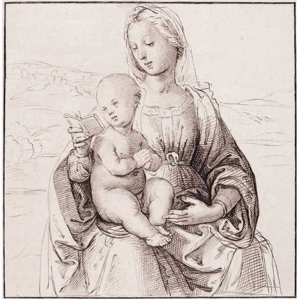 Virgin And Child Sitting Reading In A Landscape Raphael
