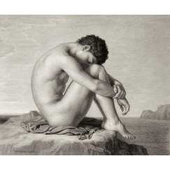 Young man sitting by the sea - Hippolyte Flandrin