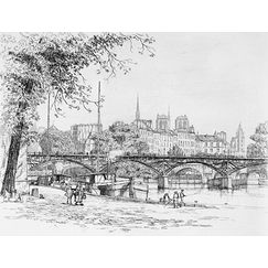 The Pont des Arts and the Île de la Cité in Paris - Caroline Helena Armington