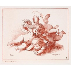 Three cupids playing - Auguste Péquégnot