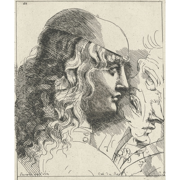 Young man's head seen in profile, head covered with a cap and long hair - Leonardo da Vinci