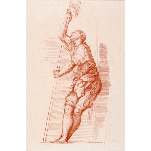 Man leaning against a wall and holding a halberd - Titian