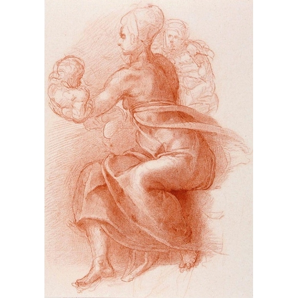 Study of a seated woman holding a child - Michelangelo