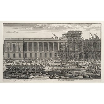 Representation of the machines that were used to raise the stones that cover the Louvre's pediment