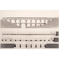 Gard bridge: western façade and plans of the three rows of arcades
