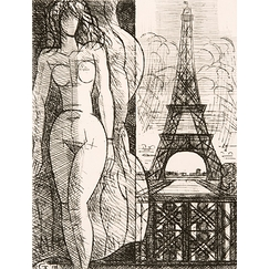 Nude at the Eiffel Tower - Marcel Gromaire