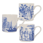 Set of 3 Mugs romance blue