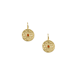 Disk Etruscan stone Earrings