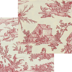 "Set of 2 Cloth Napkins Toile de Jouy ""The Delights of the Four Seasons - Herbarium of the King"