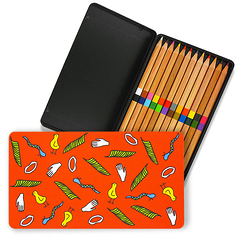 Hieroglyphs metal box of Duo colouring pencils
