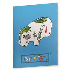 Blue hippopotamus Sketching book