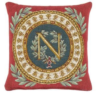 """Coussin carré """"Napoléon"""" - Fond Rouge"""