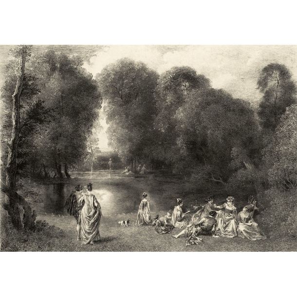 The assembly in a park - Jean-Antoine Watteau