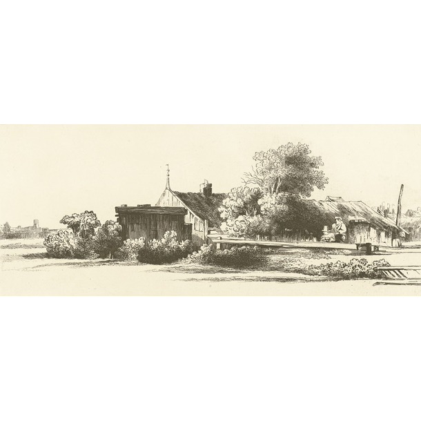 Hamlet with wooden houses, surrounded by some trees - Rembrandt