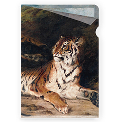 A Young Tiger Playing with its Mother Delacroix Clear file - A4