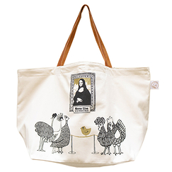 Mona Lisa Big Shopping Bag Leather Handles