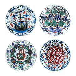 Set of 4 plates Iznik