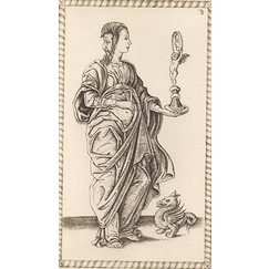 Prudencia, Card 35 in the decade of Cardinal Virtues and Geniuses of Life, Time and the Cosmos