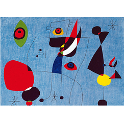 Poster Miró Womens and bird in the night