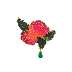 Brooch with pearl and 2 embroidered roses
