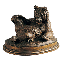 Bear lying Barye - Bronze