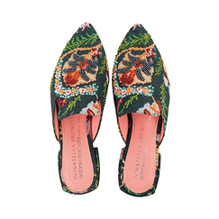 Mules shoes with flowery pattern - Donatella Brunello