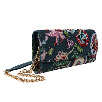Clutch bag in floral fabric - Donatella Brunello - Black