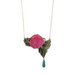 Necklace with pearl and embroidered rose