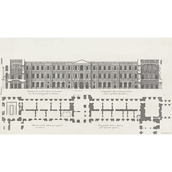 Plan and elevation on the side of the Louvre that faces the river, seen from the courtyard on the left as you enter