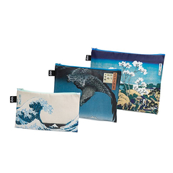 Set of 3 zip pockets Hokusai and Hiroshige