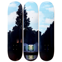 Skateboards triptych Magritte L'empire des lumières - The Skateroom