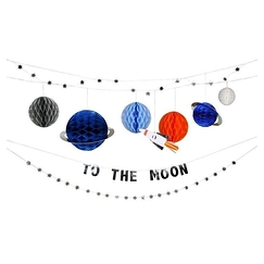 Garland Moon, planets and rocket