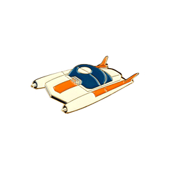Space Car Pin - White