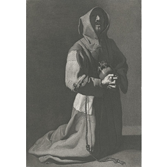 Kneeling and praying monk - Zurbarán