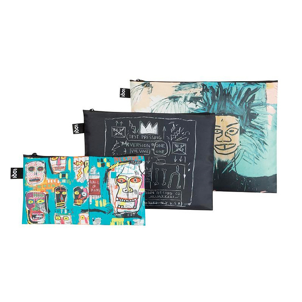 Set of 3 zip pockets Basquiat