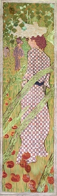 Women in the garden: Woman in a checkered dress