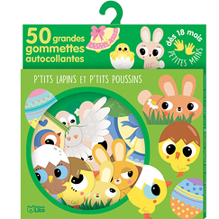 50 large self-adhesive stickers - Little rabbits and little chicks