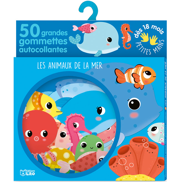50 large self-adhesive stickers - Sea animals