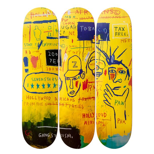 Skateboards triptyque Jean-Michel Basquiat Hollywood Africans, 1983 - The Skateroom