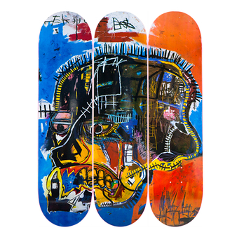 Skateboards triptyque Jean-Michel Basquiat Skull - The Skateroom