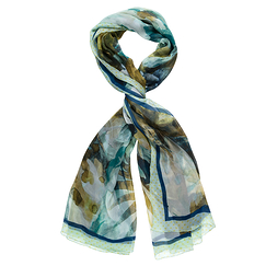 Stole with blue floral pattern - Saldarini