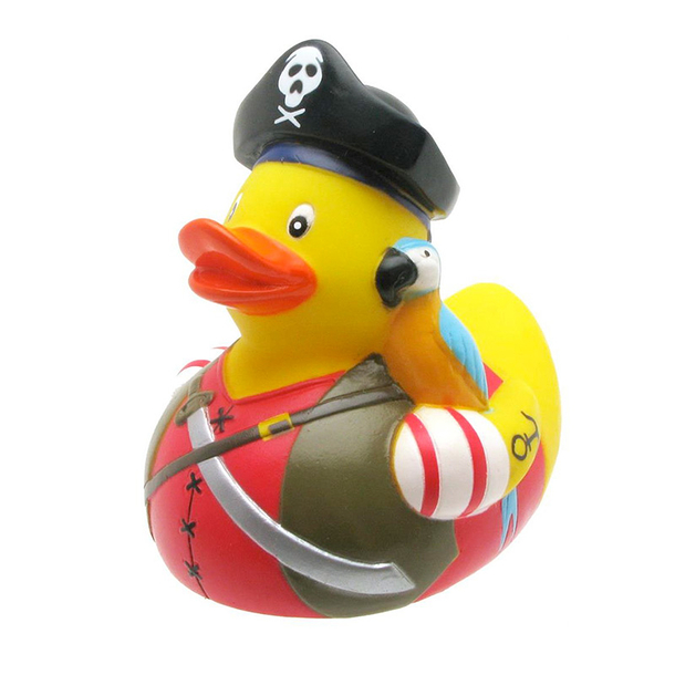 Plastic bath duck Pirate with Parrot