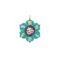Om Flower Pendant with Mantra