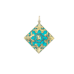 Om Square Pendant with Stone
