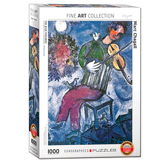 1000 Pieces Puzzle - Chagall - The blue violonist